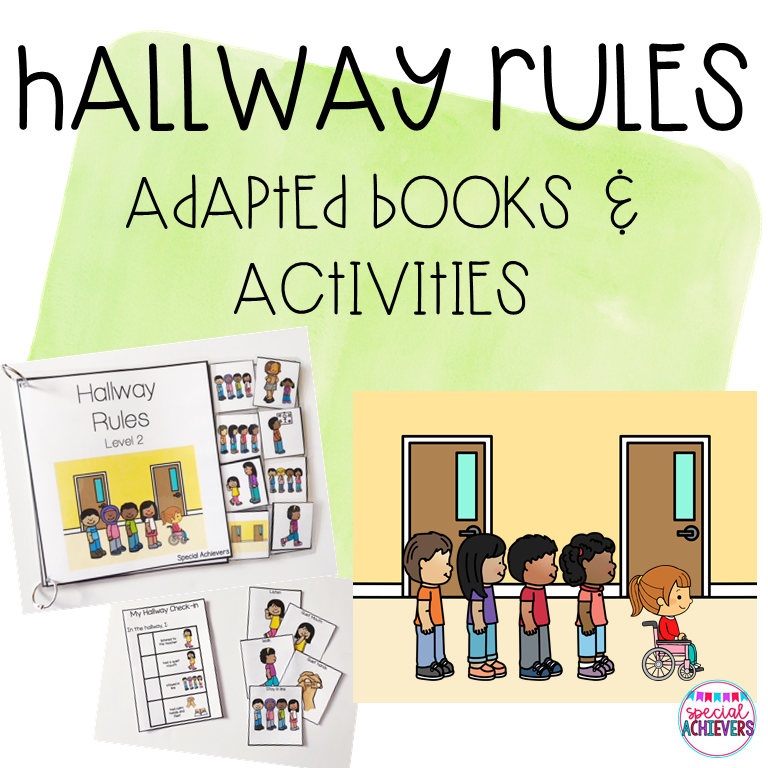 This is a cover of a product entitled Hallway Rules- Adapted Book and Activities. On the cover is a photograph of the prepared products including an interactive book, task cards, and visual cues. Next to the photograph is a clipart image of a 5 students lined up in the hallway.