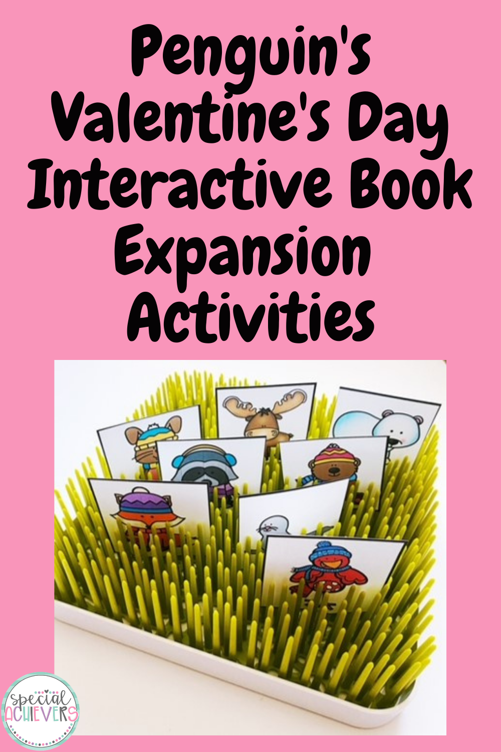 """The text """"Penguin's Valentine's Day Interactive Book Expansion Activities is written at the top of the image. Below is an image of various animal cards in plastic green grass."""