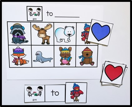 """This image shows a sheet of paper with the phrase """"give to ______"""" at the top. Below that are 8 animals in a chart. At the bottom is a sentence strip """"give to _______."""" In the blank is a picture of the bird. This is a free activity that can be used with my Valentine's Day interactive book."""