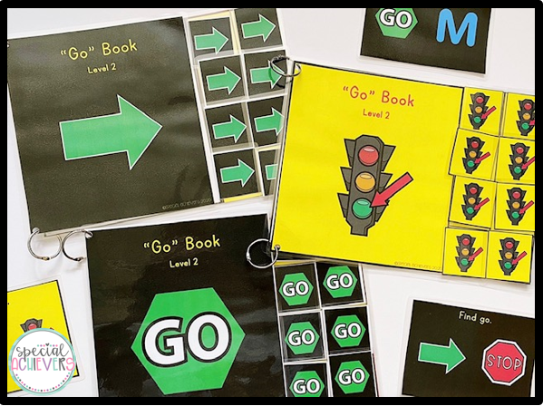 """Three versions of my Go Core Vocabulary Interactive Books are shown. Each book has a different """"go"""" symbol on the cover. Task cards are also shown."""