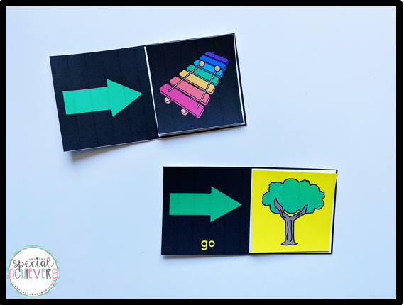 """This image shows 2 """"go"""" sentence strips. The first one shows go to (green arrow) music (xylophone). The second one shows go to (green arrow) outside (tree)"""