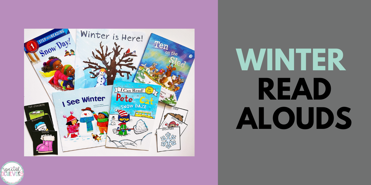 """The covers of five picture books about winter are shown on the left. On the right, the text """"Winter Read Alouds"""" is shown."""