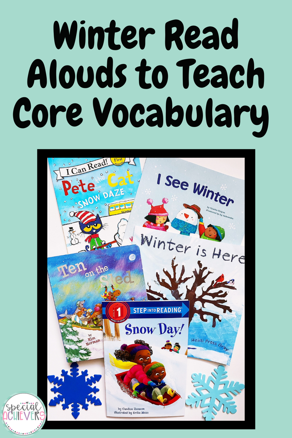 """A teal image is shown. At the top is the text """"5 Winter Read Alouds to Teach Core Vocabulary."""" Below is a picture of five picture books about winter."""