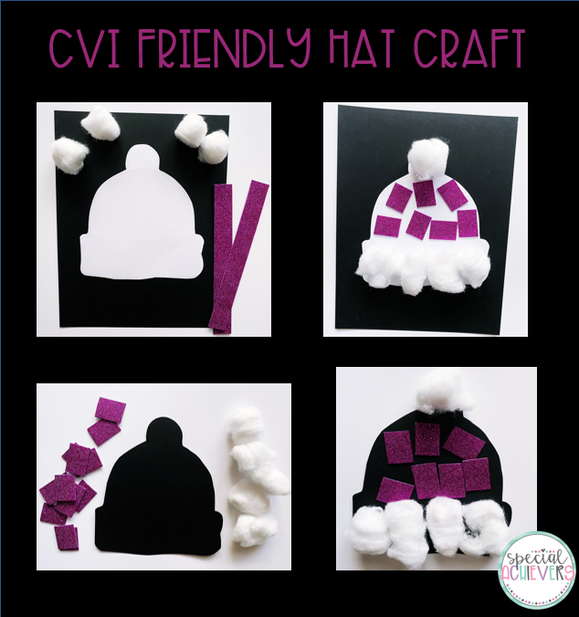 4 images are shown: the first image shows the hat cut out and glued on the black paper with purple glitter foam strips and cotton balls next to it. The second image shows the glitter foam cut up and glued on the hat shape. Images three and four are the same as images one and two, except the hat template is black, instead of white.