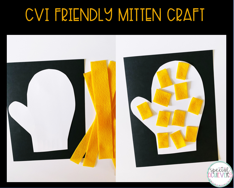 """Two images are shown. The first image shows a mitten cut out and glued on black paper with yellow felt strips next to it. The second image shows the felt cut up and glued onto the mitten shape. The text """"CVI Friendly Mitten Craft"""" is shown above the images."""