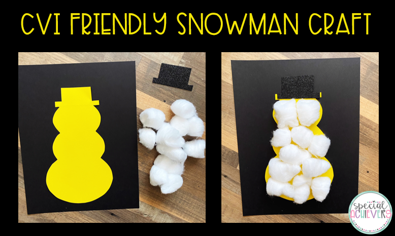 """Two images are shown. The first image shows a yellow snowman cut out and glued onto black paper with cotton balls and a black glitter foam hat next to it. The second image shows the cotton balls glued onto the snowman shape. The text """"CVI Friendly Snowman Craft"""" is at the top of the images."""