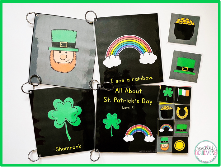 The image shows a sample page from each of the four levels of the CVI Series: All About St. Patrick's Day adapted books.