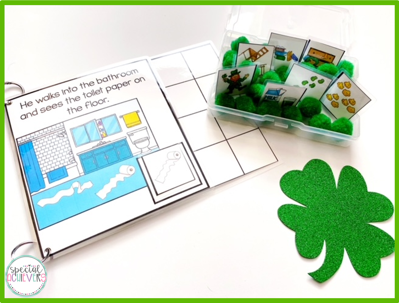 An inside page of the Silly Leprechaun Interactive Book is shown next to a sensory bin holding the interactive pieces for the adapted book.