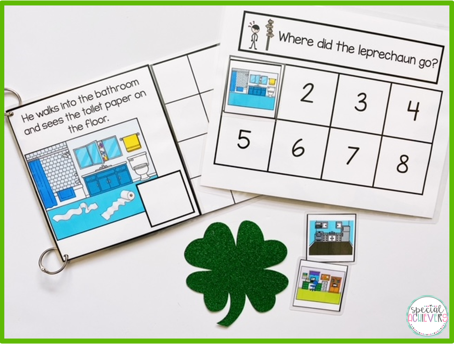 An inside page of the Silly Leprechaun Interactive Book is shown next to a FREE sequencing activity that goes along with this adapted book.