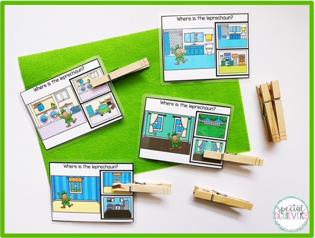 """Four """"where is the leprechaun"""" task cards are shown. On each card, students must identify from a field of 2, the matching location of the leprechaun."""