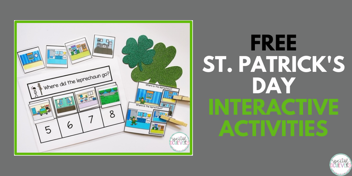 """A """"where is the leprechaun?"""" sequencing activity is shown, as well as 2 """"where is the leprechaun"""" matching task cards. In addition, 2 glitter shamrocks are pictured."""