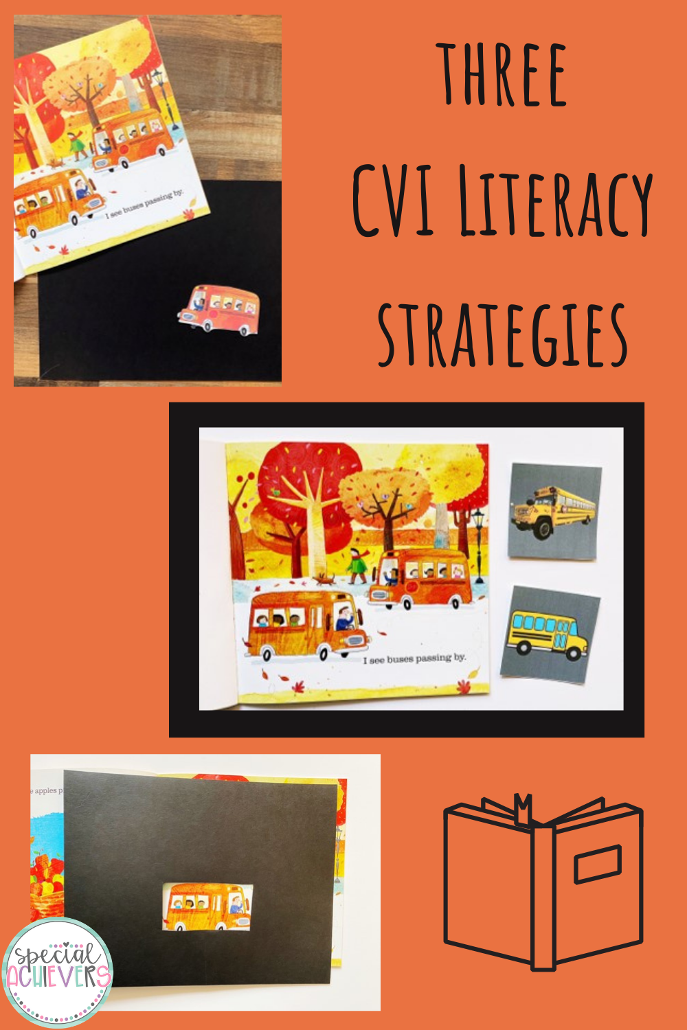 "The text ""Three CVI Literacy Strategies"" is shown. There are three images included which show three CVI literacy adaptations: remove the background, vocabulary cards, and windows."
