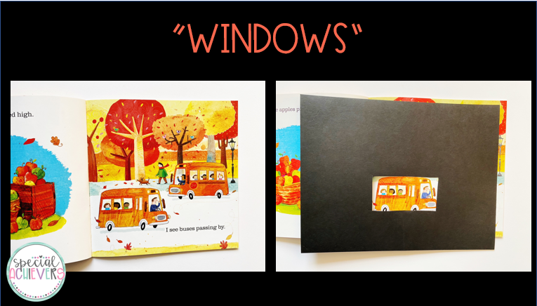 "The text ""windows"" is written above the images. The left image shows a page of the book. The right image shows the same page of the book, however most of the page (besides a picture of a bus) is behind the black cardstock window."