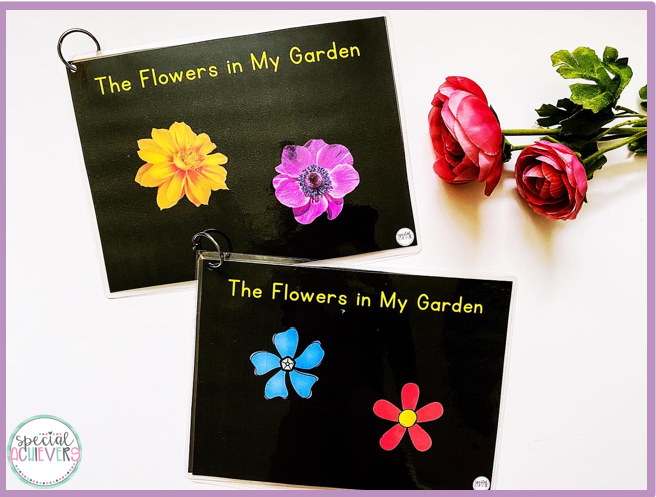 "This image shows two covers of a book ""The Flowers in My Garden."" Both covers have the title of the book written in yellow text against a black background. The top cover shows real flower images. The second cover on the bottom shows clipart flower images."