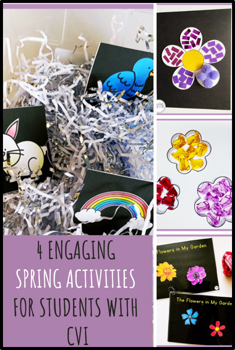 "4 pictures are shown in this pin: sensory bin with white/silver shredded paper and vocabulary cards, a flower craft, a flower light table activity, and adapted books titled: ""The Flowers in My Garden."""