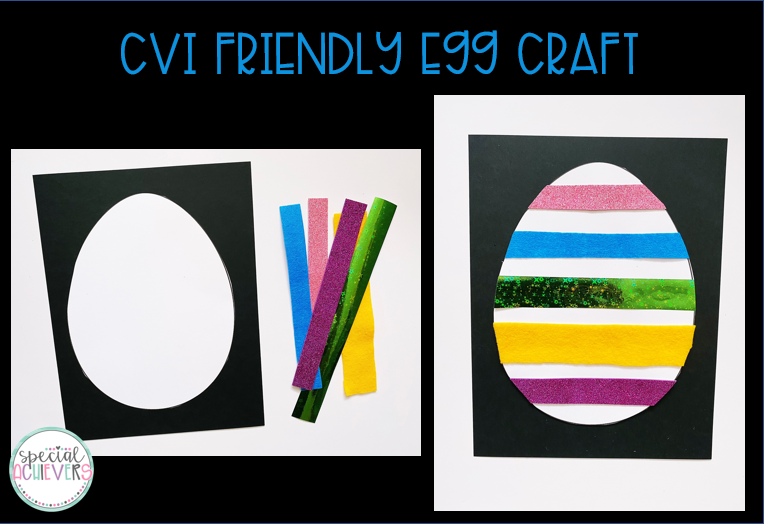 "Two images are shown. The left image shows a white egg template on white paper, with strips of textured paper on the right. The second image shows the strips of paper on the egg template. The text at the top reads ""CVI Friendly Egg Craft."""