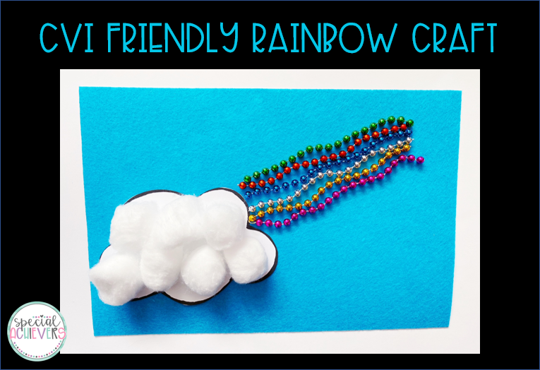 "A rainbow craft is shown. A cloud is made from cotton balls. Next to the cotton balls is a rainbow made from multi-colored beads. The rainbow is on blue felt. The words ""CVI Friendly Rainbow Craft"" are written at the top."