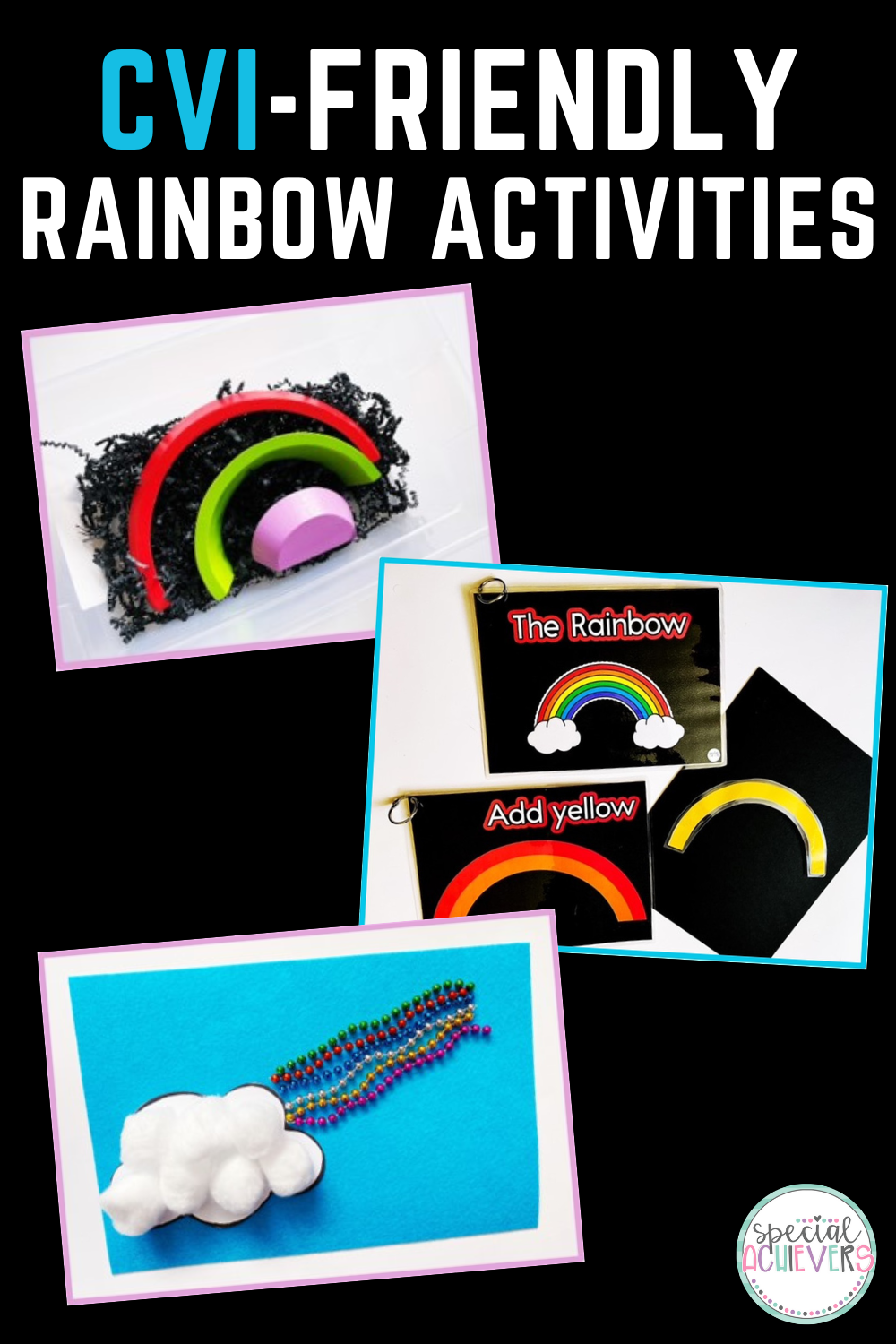 """The text """"CVI-friendly Rainbow Activities"""" is written at the top. Below it are three pictures from the blog post: three wooden rainbow pieces in a sensory bin with black gift filler paper, the cover and sample page of """"The Rainbow"""" adapted books, and a rainbow craft made from cotton balls, and beads."""