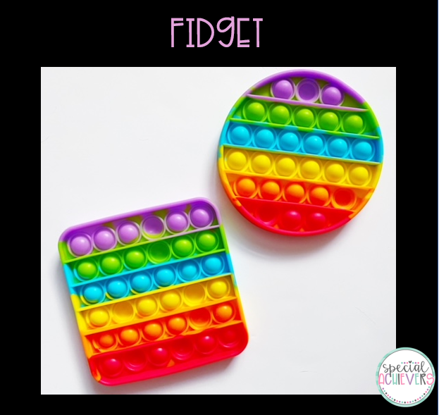 """The text """"Fidget"""" is written above the picture. The image shows two pop bubble fidget toys that are both rainbow in color. The bottom left one is square and the upper right one is circular."""