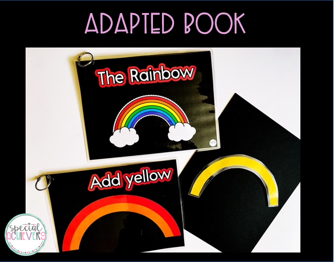 """The image shows the cover of """"The Rainbow"""" adapted book and a sample page. The sample page has the text """"Add yellow"""" with a rainbow that needs the color yellow. To the right of the page is the yellow rainbow interactive piece."""