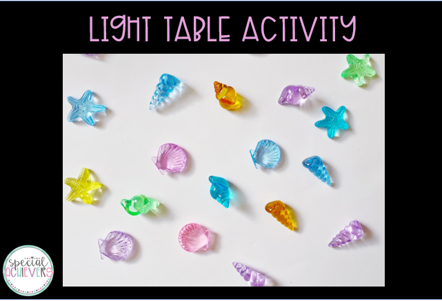 """The image has text at the top which says """"Light Table Activity."""" Below the text, there are multi-color translucent shells photographed on a light table."""