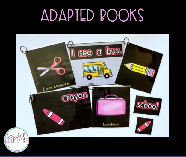 """The text reads """"Adapted Books."""" Under the title, is an image of multiple pages from the CVI-friendly Back to School adapted books."""