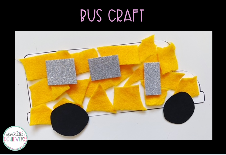"""The text """"Bus Craft"""" is written at the top. Below is a completed bus craft. The craft is made from yellow felt, silver glitter foam board, and black cardstock."""