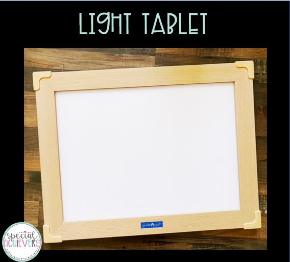 """The text """"Light Tablet"""" is written at the top of the image. Below is an image of a light tablet."""