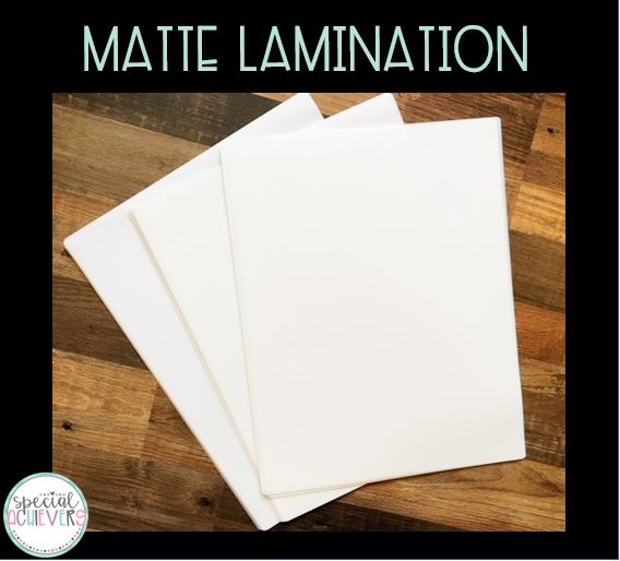 """The text """"matte lamination"""" is written across the top. Below is a photograph of a pile of matte lamination."""