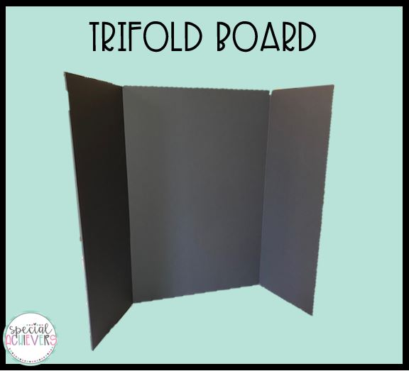 """The text """"trifold board"""" is written across the top. Below a photograph of a black trifold board is pictured."""