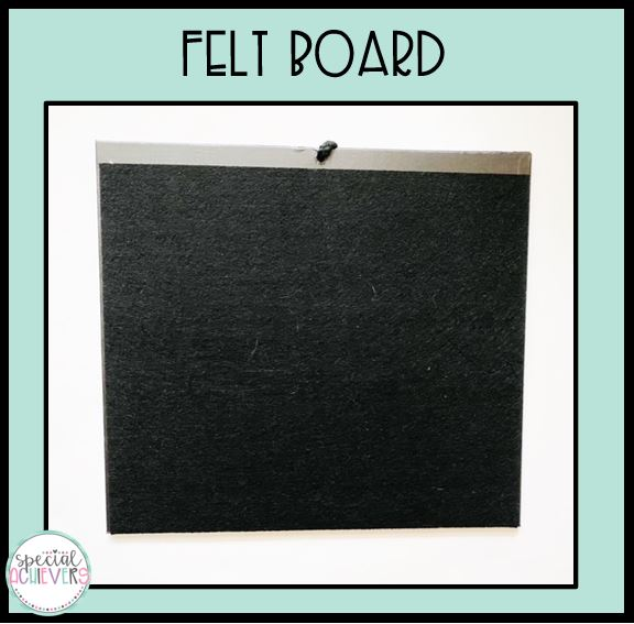 """The text """"felt board"""" is written across the top. Below a photograph of a black felt board is pictured."""