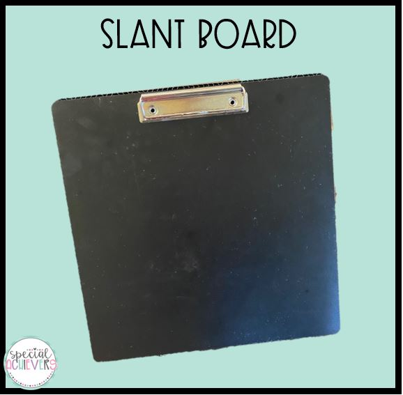 """The text """"Slant Board"""" is written at the top of the image. Below is an image of a black slant board."""